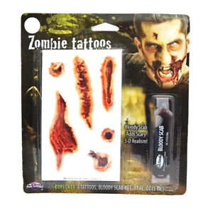 Fun World Zombie Open Wound Tattoos With Bloody Scab Halloween Makeup Costume