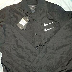 Nike Sportswear Swoosh Quilted Bomber Jacket Men's Size S Black CU3922-010