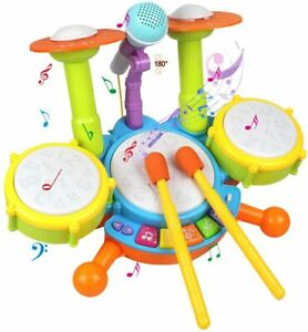 Kids Toddler First Electric Drum Kit Set With Microphone Children Musical Toys
