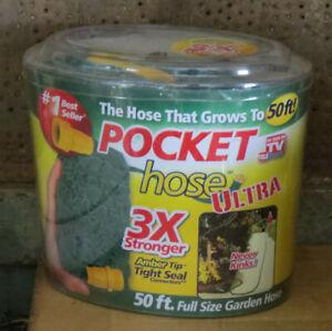 Pocket Hose Ultra 50ft 3X Stronger Expands Kink Free Lightweight Garden Lawn NIB