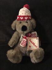 NEW KRIS MUTT STUFFED GRAY BEAR DOG WITH HAT MITTENS BIG BROWN EYE NOSE 19""