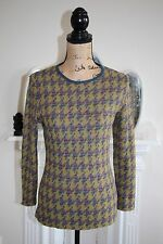 Missoni Sport Vintage Jumper Green Purple Mustard Yellow 8 10 Small Houndstooth