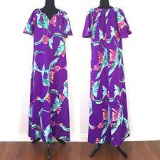 1970s Vintage M/L Purple Hilo Hattie Hawaiian Maxi Dress Muumuu Lounger Caftan