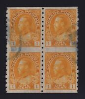 Canada Sc #126a (1924) 1c yellow Admiral Part Perforated Coil Block of 4 VF Used