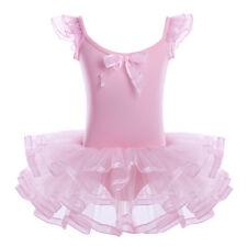 Kids Girls Gymnastics Ballet Dance Leotard Dress Tutu Dancewear Dancing Costume