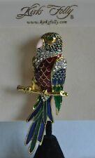 Kirks Folly Parrot Multi Color Enamel Crystal Pin In Gold Tone