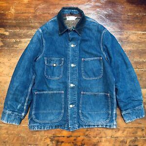 60s Sears Vintage Denim Chore Jacket Work Railroad Corduroy Blanket Lined L