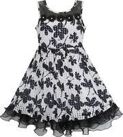 Girls Dress Lace Tulle Flower Transparent Shoulder Black Age 7-14