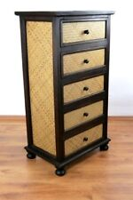 Asian chest of drawers wood & rattan handmade Thailand living room cabinet 76cm