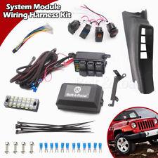 Electronic 6 Relay System Module Wiring Harness 4 Rocker Switch Kit For Jeep JK