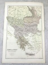 1882 Mappa Antica Di Turchia Grecia Bulgaria Serbia Bosnia Originale 19th Secolo