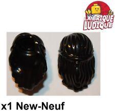 Lego - 1x Minifig cheveux coiffure hair long attaché noeud noir/black 59363 NEUF