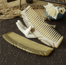 Natural OX Horn Comb handle Wide/Fine Toothed Comb Massage Brush Antistatic 牛角梳子