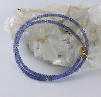 EdleTansanit kette Edelsteinekette Fecettierte Damen Collier 925 Silber Blau Neu