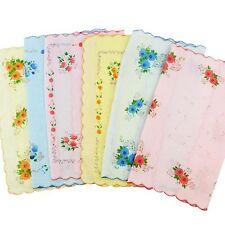 NEW 12PCS WOMEN CHILD PURE COTTON FLOWER VINTAGE HANDKERCHIEFS QUADRATE HANKIES