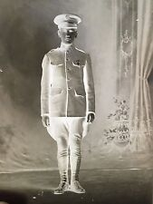 Antique Glass Negative Photo Plate-Early 1900, WWI US Army Soldier, Medal Cross