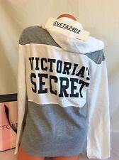 NWT Victoria's Secret Fleece Full Zipper Hoodie~ Gray/White Colorblock~Sz L