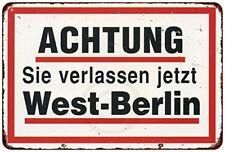 "Achtung West Berlin Rustic Retro Metal Sign 8"" x 12"""