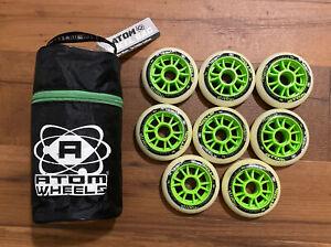 Atom Matrix 90mm 86A Wheels Set Of 8 Green NOB