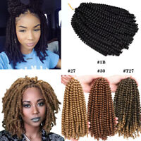 "8"" 30Strands Spring Twist Braids Havana Crochet Twist Hair Extensions Synthetic"