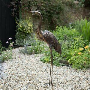 Large Metal Heron Statue Ornament | Garden Statue | Outdoor Bird | Sculpture