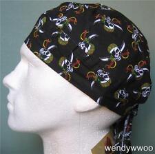 Skull & Swords Bandana Zandana head wrap Fitted,du rag,hat, Pirate Fancy Dress