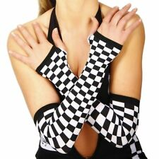 CHEQUERED Arm Warmers GRID GIRL V8 Speed Racer COSTUME Fingerless GLOVES Blk+Wht