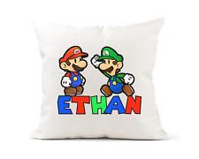 Personalised Mario Luigi Gaming Cushion Cover 40 x 40cm Premium Linen Look