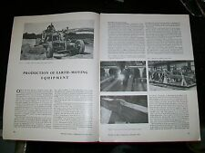 EARTH MOVING EQUIPMENT by BLAW KNOX, ROCHESTER, KENT  MAGAZINE ARTICLE. DEC 1952