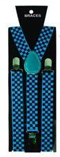 Unisex Fancy Dress Novelty Fashion Braces Bright Turquoise & Black Check Pattern