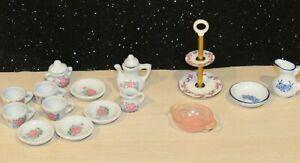 Vintage Dollhouse Miniature Dining Ware Porcelain Tea Set w/Cake Stand Lovely