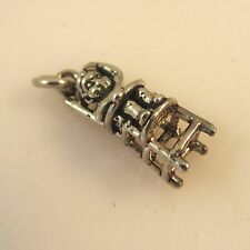 .925 Sterling Silver 3-D CHILD IN HIGH CHAIR CHARM Pendant Baby NEW 925 BA20