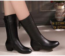 Women's Zipper Mid Calf Knee Winter Boots Ladies Casual Block Heel Shoes Size