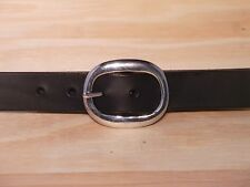 Silver Oval 1 Inch Leather Belt Waist Size Mens Ladies Black Brown Tan White Red