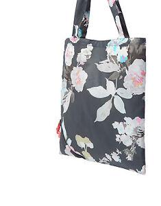 JOULES Tom Joule Pacabag / Einkaufstasche faltbar grau mit Blumen 35 cm NEU