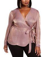 INC Women's 2x Plus Size Metallic Snake-Print Wrap Top - Blouse, Pink, $90, NwT