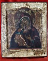 Antique 18 century Russian Icon Vladimirskaja Mother Of God.