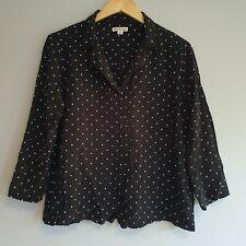 Whistles Womens Size M Black White Polka Dot Spot Blouse Shirt Smart Casual Work