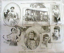 1897 NY Herald newspaper w poster display Portraits of WOMEN TENNIS CHAMPIONS
