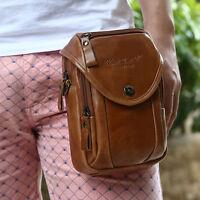 Men Genuine Leather Cross Body Messenger Shoulder Belt Fanny Pack Waist Hook Bag