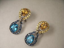 Fabulous 14K White Gold Multi-Color Sapphire Citrine Topaz Diamond Drop Earrings