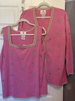 Quacker Factory Pink Grasshopper Silk Cardigan/Tank Sweater Set NWT Ship Free