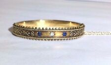 An Antique Victorian 15CT Hallmarked English Diamond Sapphire Bangle Bracelet