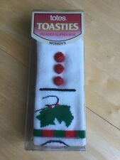 Women's Vintage Totes Toasties Treaded Slipper-Sox- Christmas - Dated 1992 - NIB