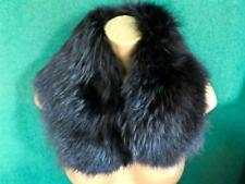Ladies Black Real Fur Collar Neck Wrap Scarf Stole with front Clip. Satin Backed