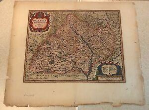 Original 1640 Willem Blaeu map // MORAVIA MARCHIONATUS Hand-colored 17th Century