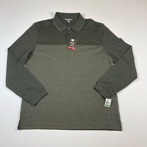 NEW Van Heusen Flex Men's Large Green Long Sleeve Stretch Polo Shirt