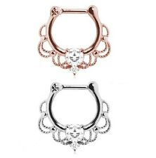 New Rose Gold Plated Silver CZ Gem Lacey Ornate Septum Clicker Nose Piercing