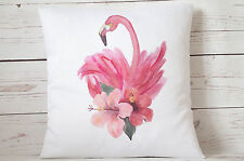 """Watercolour Floral Flamingo - 16"""" cushion cover shabby vintage chic"""