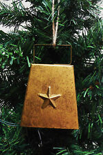 COWBELL CHRISTMAS ORNAMENT MINI COWBELL GOLD w/WORKING BELL METAL STRUCTURE